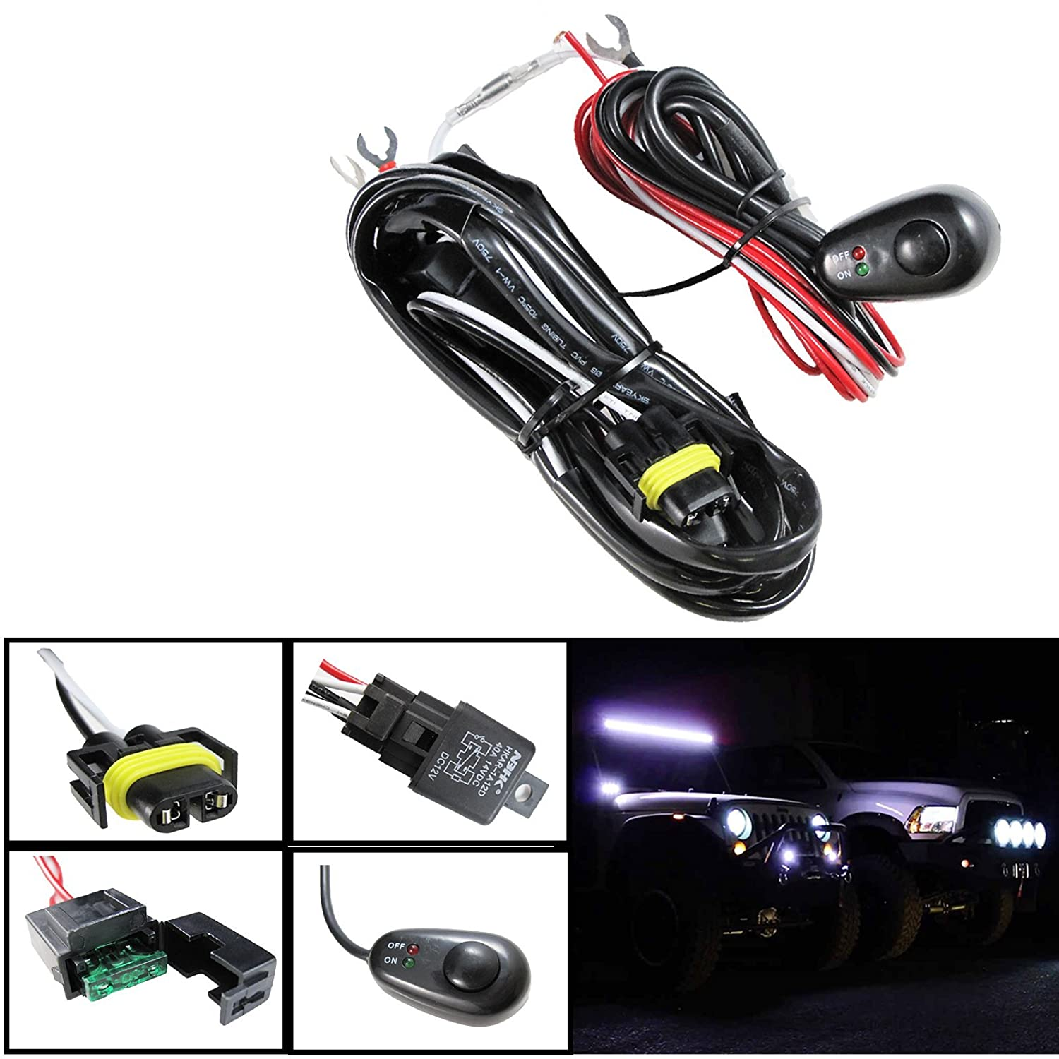 H11 H8 Relay Harness Wire Kit Led On Off Switch For Mx 3 Fuse Box Wiring Aftermarket Fog Lights Driving Hid Conversion Work Lamp Etc Car