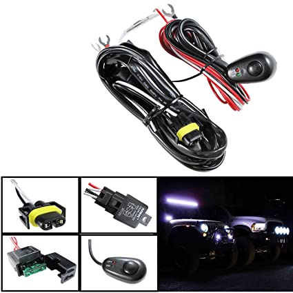 amazon com h11 h8 relay harness wire kit led on off switch for rh amazon com Fog Lamp Wiring 2001 Ford Explorer Fog Lamp Wiring