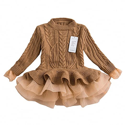 3533545cd06 Generic Girls Ruffle Sweater Long Sleeves Tutu Dresses Stitching Knitting  Pullover Tops for Kids (Brown