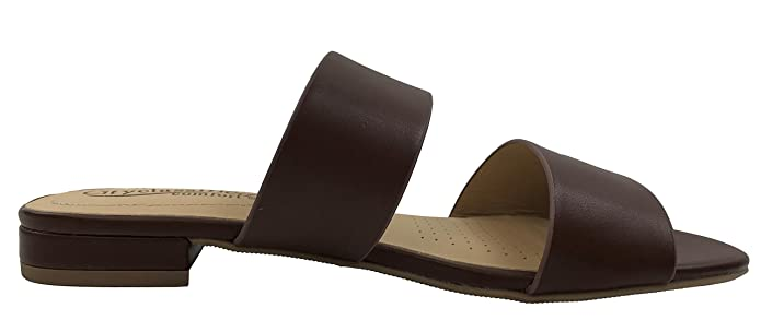 03fb50e8ba Amazon.com | Soda Womens Comfort Two-Strap Low Heel Flat Slip-on Slide  Sandal Memory Foam | Slides