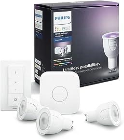 Philips Hue Kit de Démarrage White And Color Ambiance avec 3XGu10 6,5W [Pont et Interrupteur avec Variateur Inclus], Un Kit de Lampes Connectées - Ampoules à Variation de Couleurs - Fonctionne avec Alexa