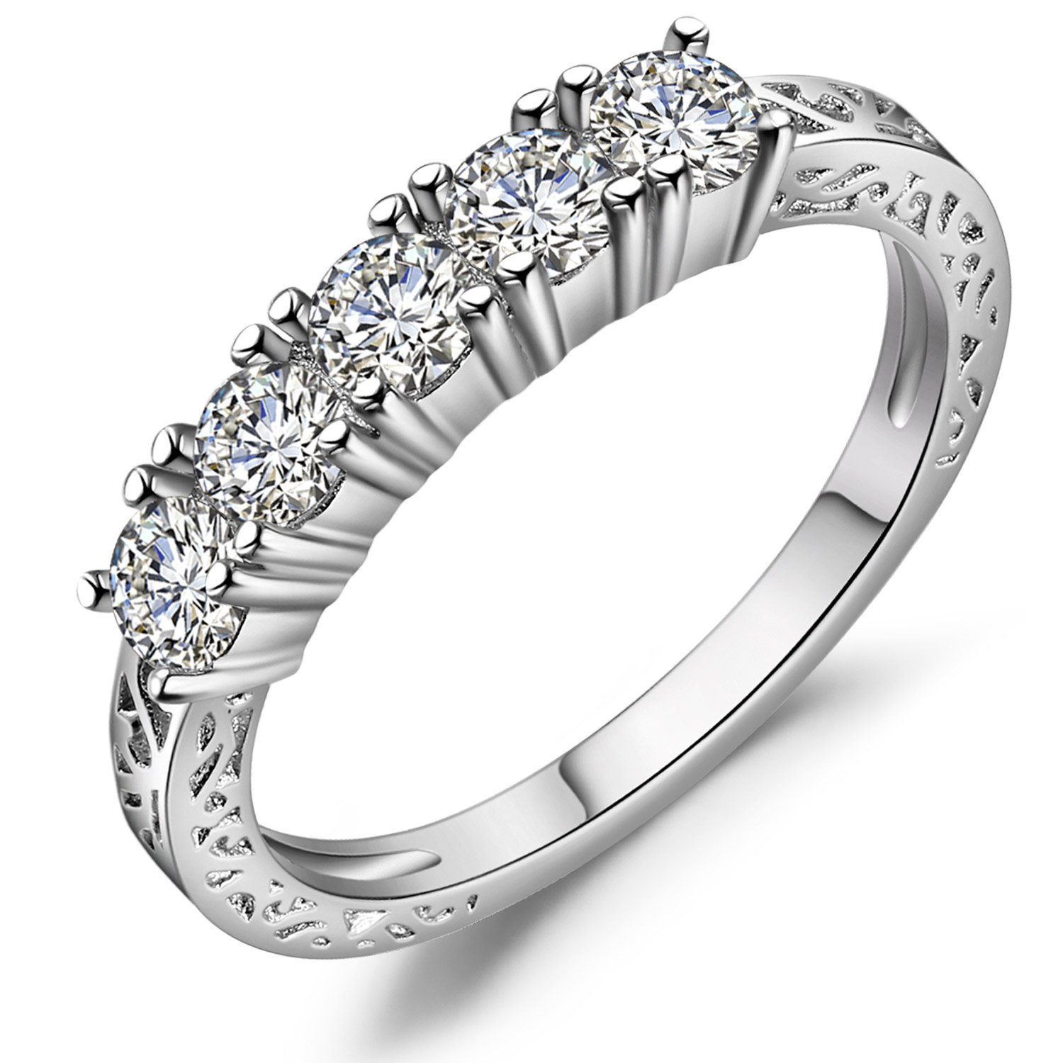 Vibrille Sterling Silver and Cubic Zirconia Five Stone Anniversary Wedding Band Ring for Women Size 7