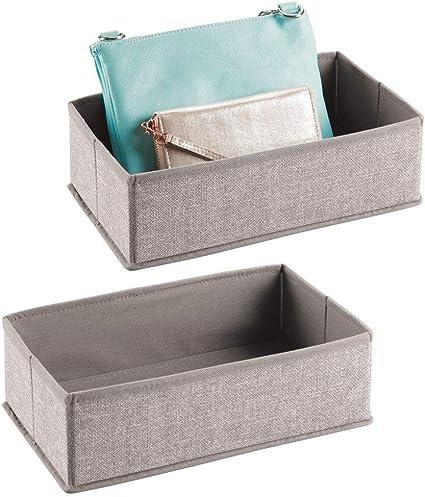 mdesign boite de rangement pour armoires ou tiroirs lot de 2 panier de rangement ideal pour vetements sacs a main et plus bac de rangement