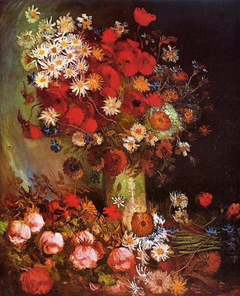 手描き-キャンバスの油絵 - Vase with Poppies Cornflowers Peonies and Chrysanthemums フィンセントファンゴッホ Imp 芸術 作品 洋画 FRIM2 -サイズ16 B07H79KBXQ  48 x 96 インチ