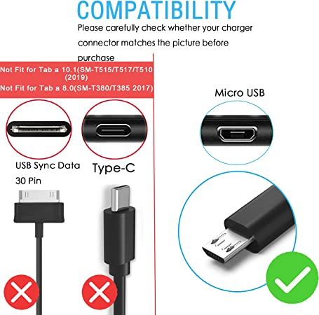 8.0 SM-T350 6.5 Ft AC Adapter Charger Cord for Samsung Galaxy Tab A 7.0 SM-T280