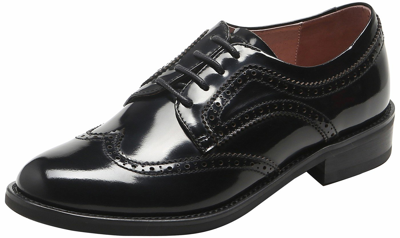 U-lite Women's Perforated Lace-up Wingtip Pure Color Leather Flat Oxfords Vintage Oxford Shoes Black Patent 7