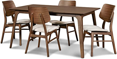 New Classic Furniture 40-1651-D4CT Mid-Century Modern Oscar 5-Piece Dining Table Set, 60-Inch, Walnut