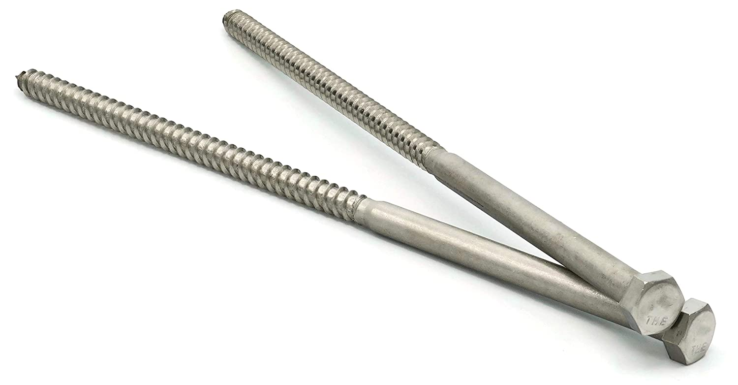 Hex Lag Screws 18-8 Stainless Steel 3//8 x 6 Qty-25