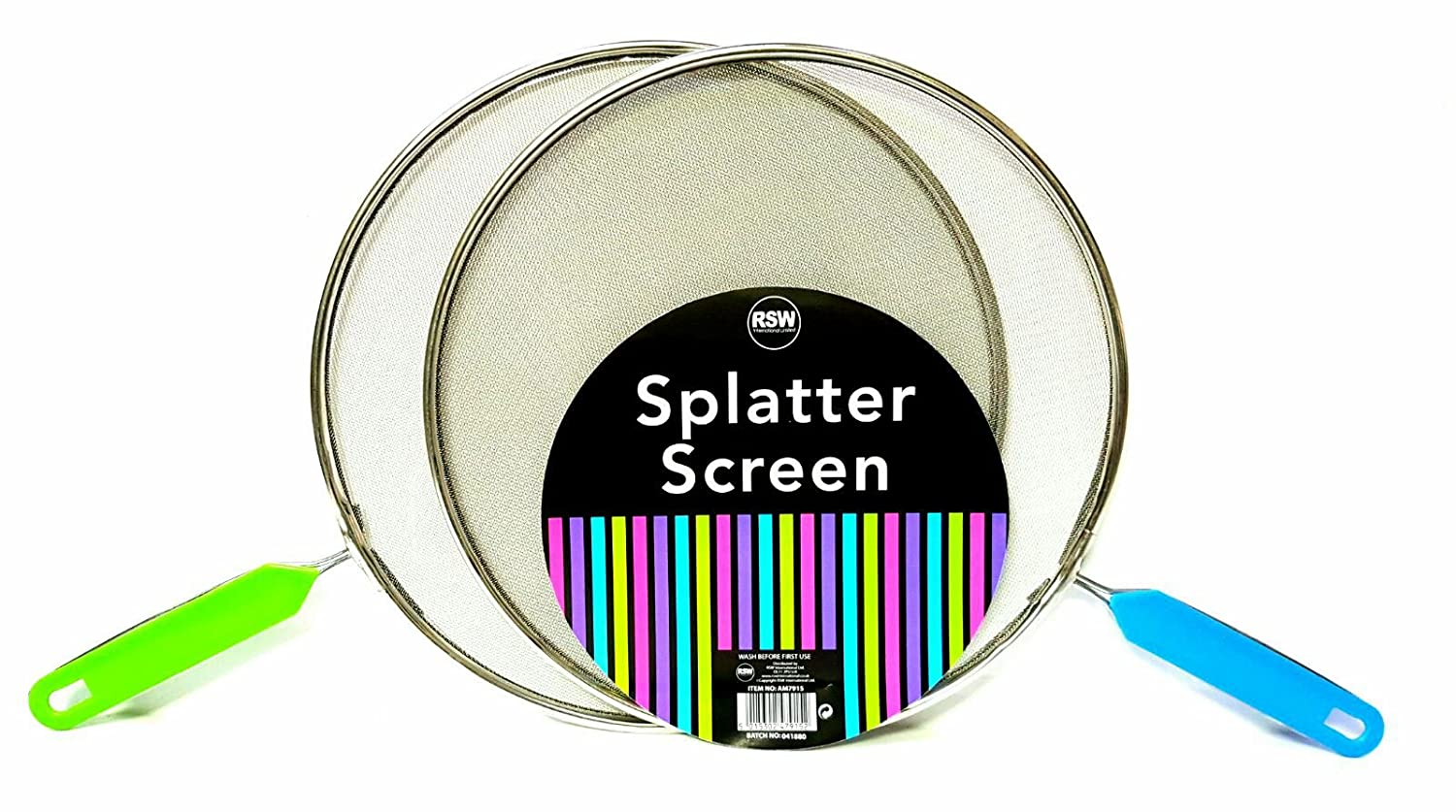 DPNY 2 x 28cm Splatter Guard Set Frying Pan Anti Splash Screen Cover Mesh Metal Wired with random Coloured Handle