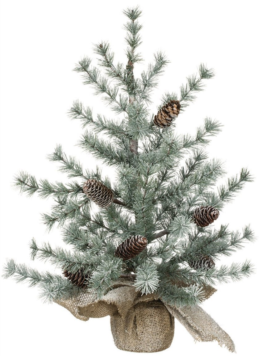 Pine and Burlap Snow Dusted 24 inch Artificial Christmas Tree Decoration