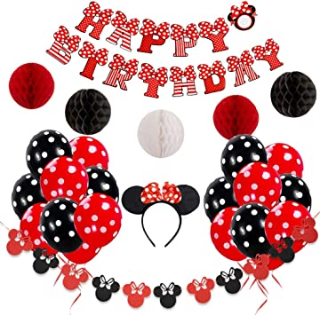 Amazon.com: Minnie Mouse - Decoración de cumpleaños para ...