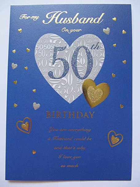 STUNNING TOP RANGE GLITTERED FOR MY HUSBAND ON YOUR 50TH BIRTHDAY GREETING CARD Amazoncouk Kitchen Home