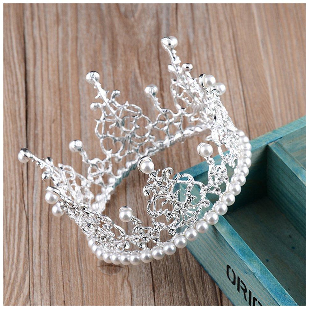 Xiwstar Pearls RhinestonesTiara Crown Wedding Party Children Flower Girl Full Round Crown for Kids Baby Birthday Decorations (Silver)