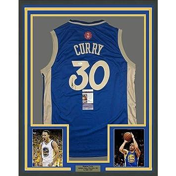 hot sale online 86806 de02a Autographed Stephen Curry Jersey - FRAMED 33X42 Blue ...
