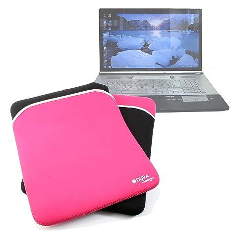 DURAGADGET-Funda de neopreno reversible, color negro/rosa para ordenador portátil HP Pavilion
