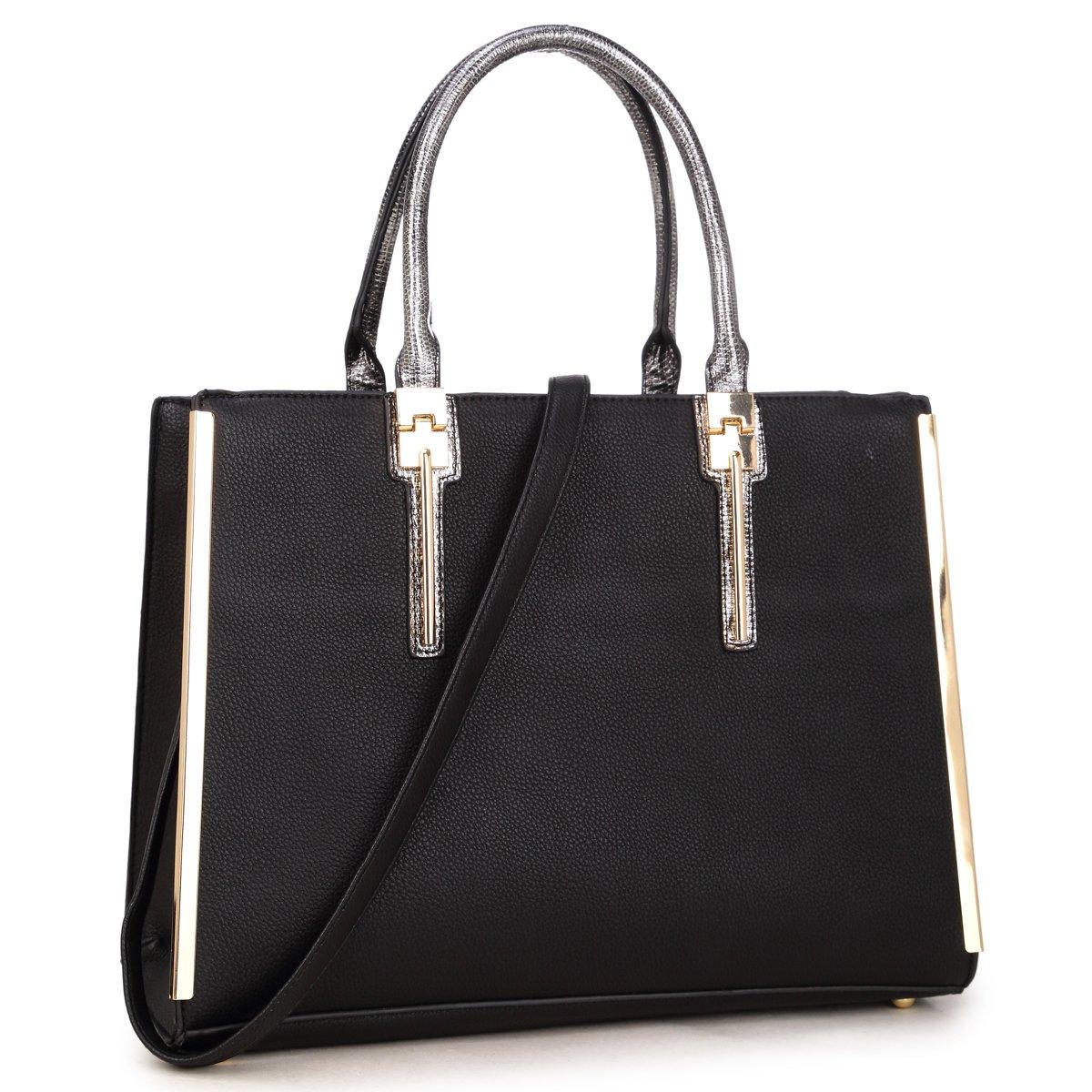 New Women Handbag Faux Leather Satchel Bags Medium Purse Briefcase (Black)