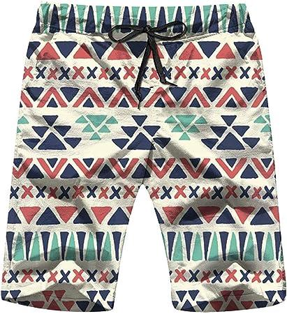 ElRLSHDH Étnica Azteca Geométrica Belleza Pantalones Cortos para Hombre Pantalones Cortos Ligeros De Playa Bañador con Secado Rápido,2XL