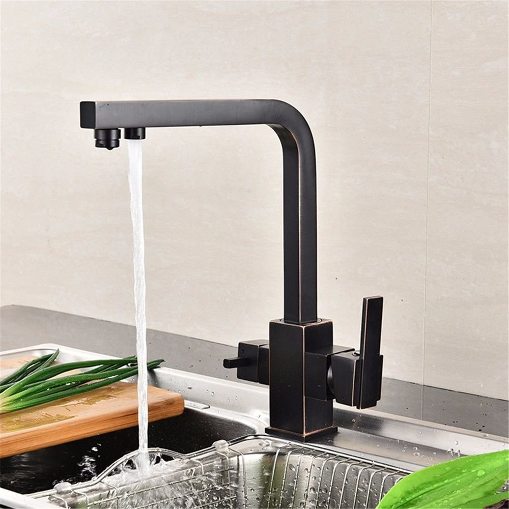 SADASD European Bathroom Basin Faucet Copper Black Bronze Washbasin Sink Taps Ceramic Valve Single Hole Single Handle Hot and Cold Mixer Tap With G1 2 Hose