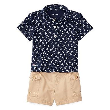 da9df9cbf ... spain ralph lauren polo baby boys french navy anchor top rose shorts 9  bdf6f f6831