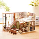 Kisoy Romantic and Cute Dollhouse Miniature DIY House Kit Creative Room Perfect DIY Gift for Friends,Lovers and Families(Wait for the time)Plus Dust Proof Cover