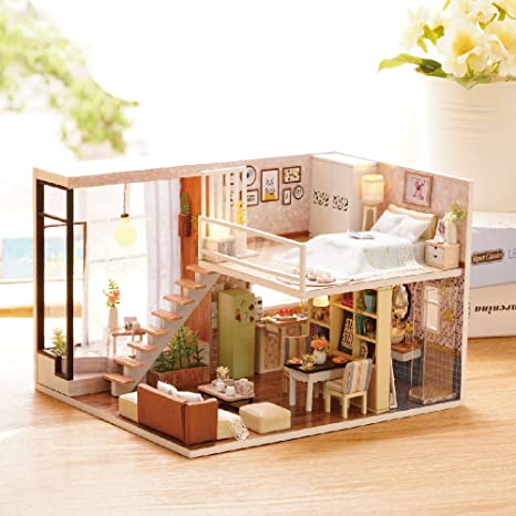 amazon com kisoy romantic and cute dollhouse miniature diy house