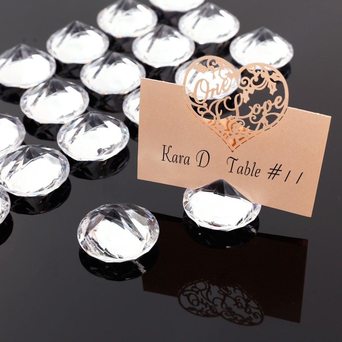per targhette dei nomi segnaposti per matrimoni set da 20 pezzi supporti per biglietti di prenotazione Surepromise Portabigliettini stile diamante