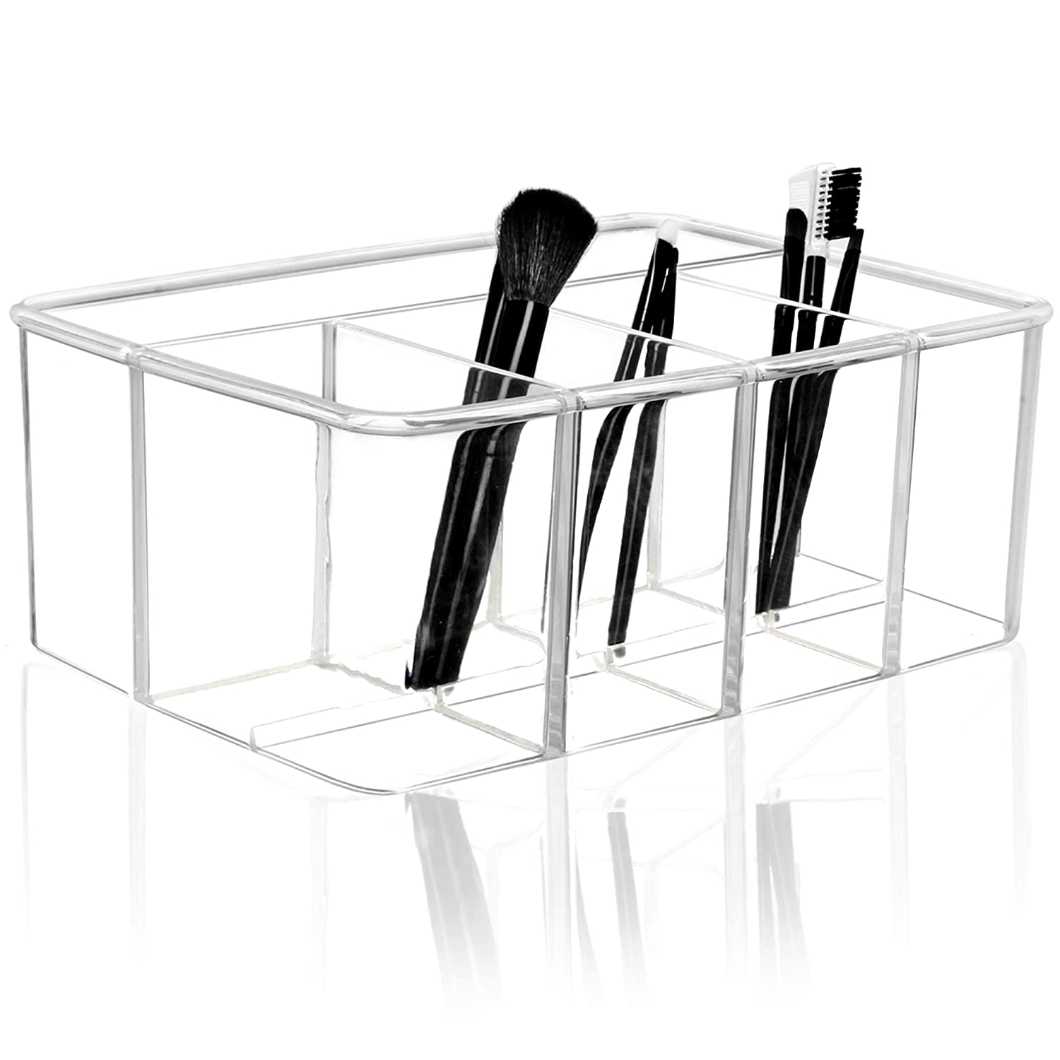 Youngever Large Clear Plastic Organizer, Makeup organizer, 5-Compartments
