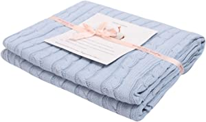 Adory Sweety 100% Cotton Decorative Knit Cable Throw Blanket Super Soft Warm for Couch Chairs Beach Sofa,50 x 60 inch,As Gift with Free Washing Bag(Sky Blue)