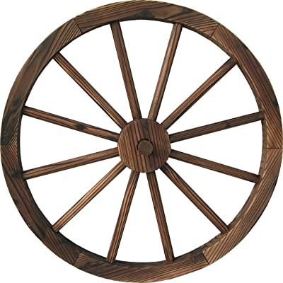 "DDI QD-LFNB-W30W 30"" Wooden Wagon Wheel Burnt Wood: Garden & Outdoor"