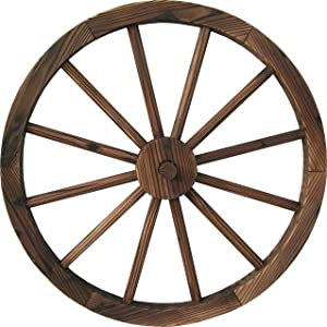 "DDI QD-LFNB-W30W 30"" Wooden Wagon Wheel Burnt Wood"