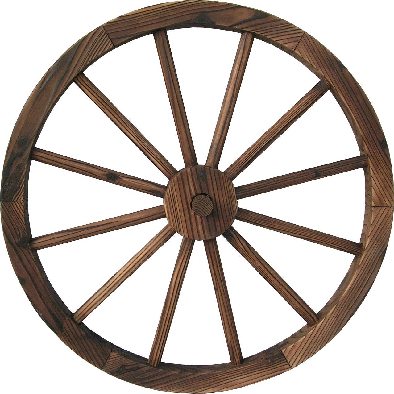DDI QD-LFNB-W30W 30'' Wooden Wagon Wheel Burnt Wood