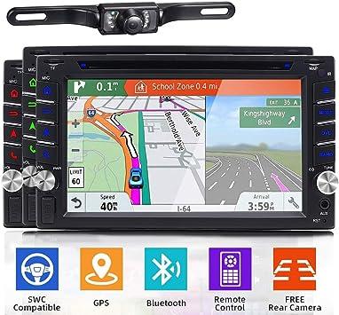 Doble DIN estéreo para Coche con GPS de navegación DVR 1080P DVD ...