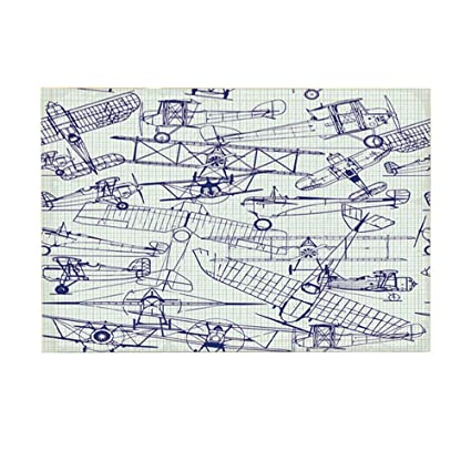 Amazon.com: Airplane Décor Bath Rugs by HNMQ, Planes Fying ... on