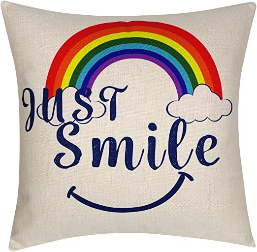 Decopow Just Smile With Rainbow Throw Pillow Cover Decorative Throw Pillow Case 18x18 Inches Just Smile Home Kitchen