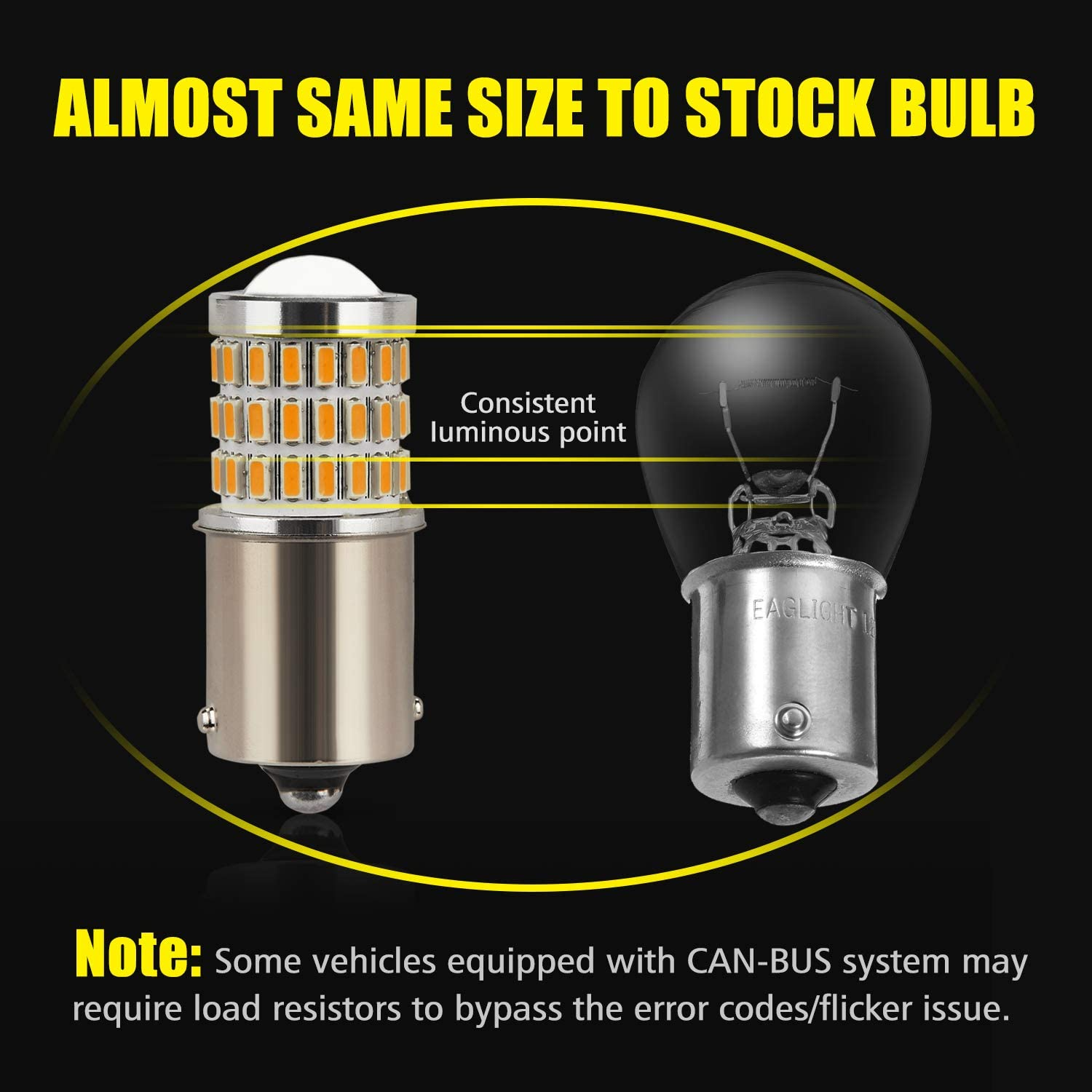 Turn Signal//Parking or Running Lights Ultra Bright 57-SMD LED Replacement for Blinker Lights Brake//Tail Lights AUXLIGHT 1156 BA15S 1003 1141 7506 1156A LED Bulbs Amber Yellow Pack of 2