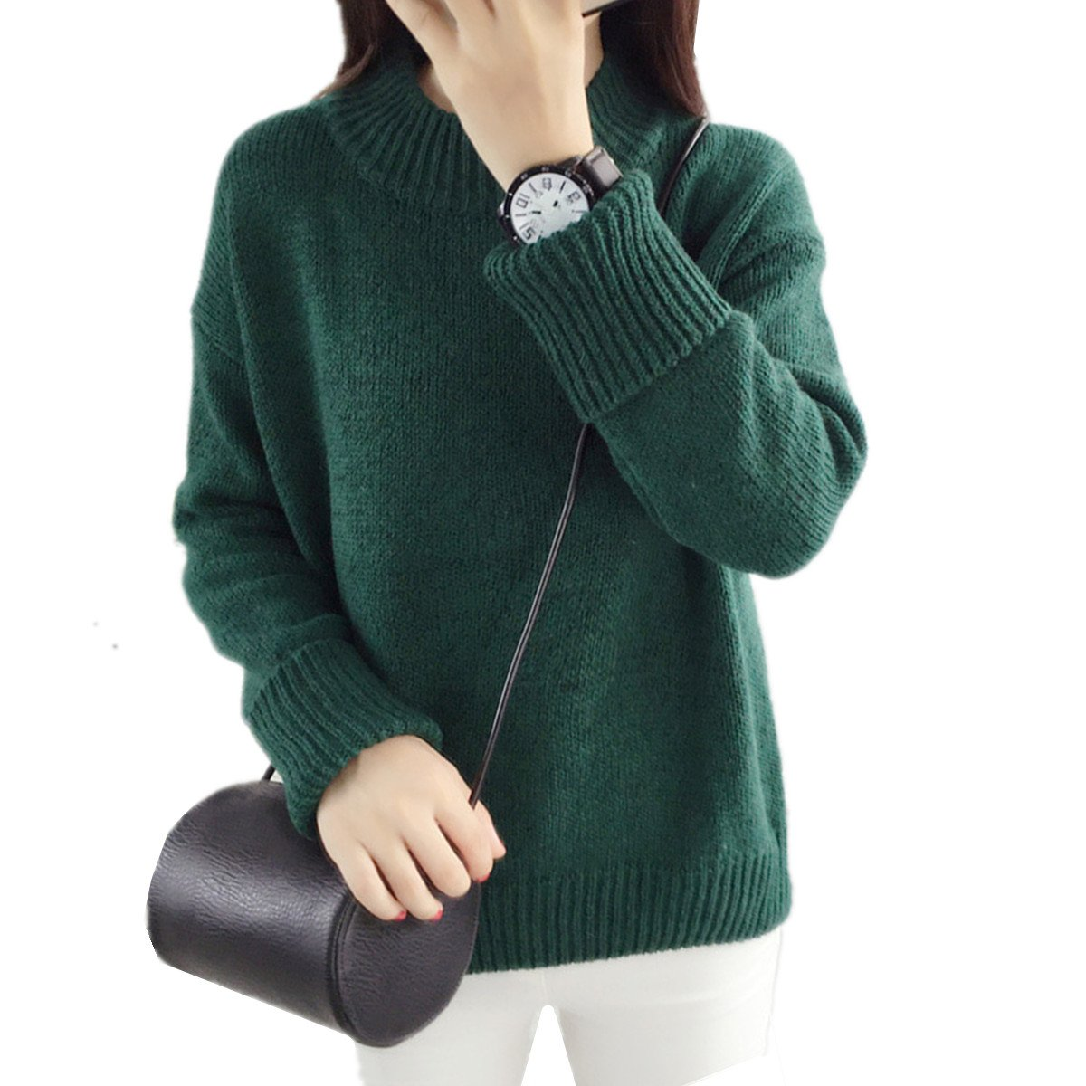 ad5ad49ec68a24 HEYFAIR Women Thick Knitted Plain Pullover Sweater Jumper (Blue) at Amazon  Women s Clothing store