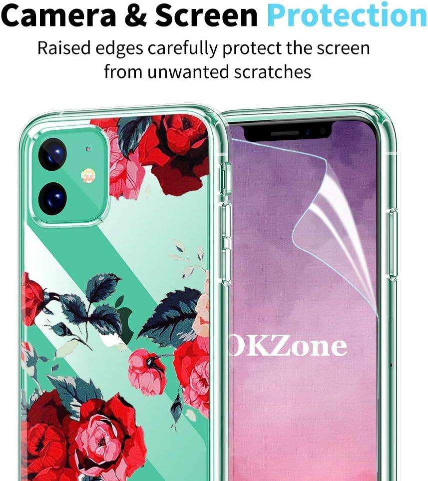 Ultra L/éger Flower Blossom Clair Design Motif Transparente Silicone Gel TPU Etui de Protection Anti Choc Ultra Fine OKZone Coque iPhone 11 Pro Rouge Fonc/é pour Apple iPhone 11 Pro 5,8 Pouces