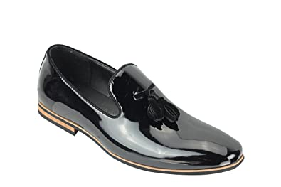 4c5f694975a Xposed Mens Tassel Loafers Shiny Patent Leather Line Slip on Smart Casual  Driving Shoes UK Size