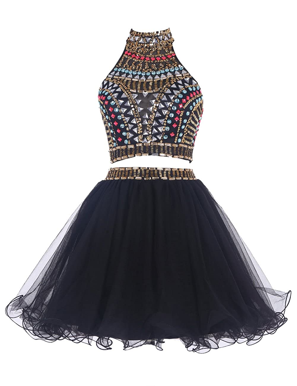 cbb424f0927 Amazon.com  Wedtrend Women s Halter Prom Dress Short Tulle Homecoming Dress  with Beads  Clothing