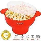 Firlar Micro-ondes Popcorn Popper Robuste Poignées Pratique, Popcorn Maker, Pliable Bol avec Couvercle en Silicone (Rouge)