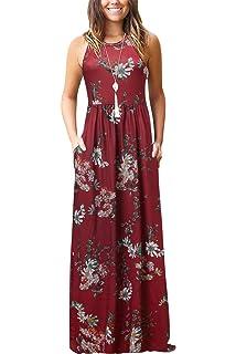 2528c6c0bd3ee3 Bequemer Laden MaxiKleid Damen Sommer Ärmellos Baggy Plain Sommerkleid  Casual Lange Kleider mit Taschen Weinrot M