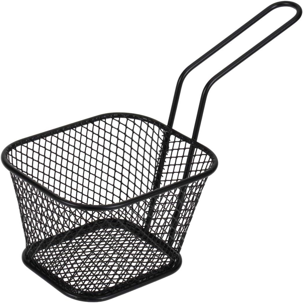 Negra UPKOCH Cesta de fre/ír Cuadrada Cesta de fre/ír Profunda de Metal Mesa de Comida frita Que Sirve cestas de Papas Fritas freidora Cesta de Comida