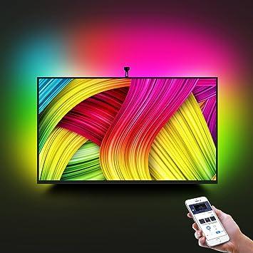Tira LED TV con Cámara, Minger Lluminación de Retroiluminación LED TV, Flexible 5050 RGB, Tres modos (Video, Música, Personalizado), Control de APP: Amazon.es: Iluminación
