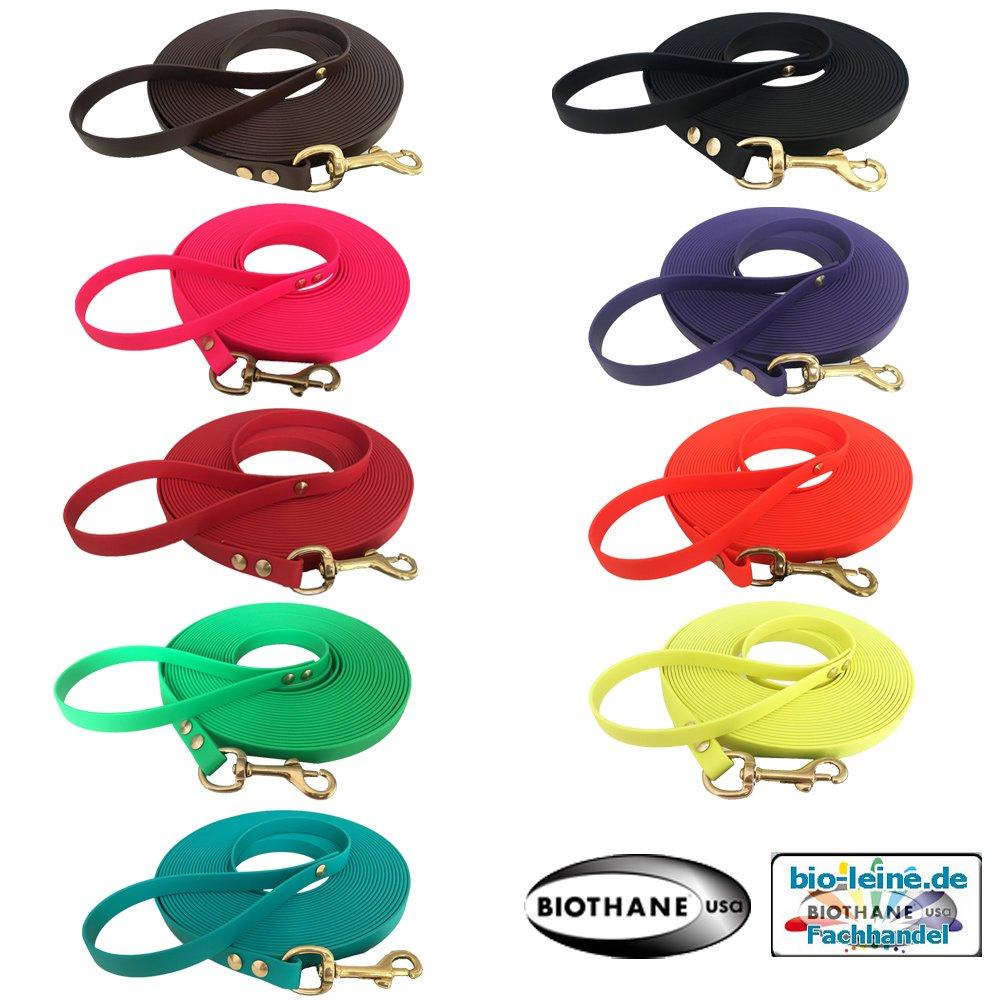 Superflex Biothane Schleppleine für Welpen und Kleine Hunde, 3-15 Meter, in 8 Farben, 9 mm Breit, Nur 1,5 mm Dick, mit Handschlaufe BioThane®