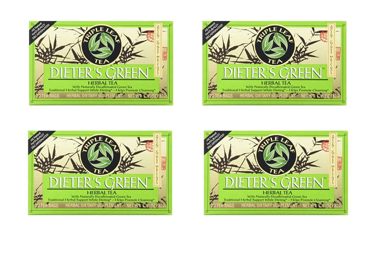 Triple Leaf Teas - Dieter's Green Herbal Tea, 20 bag (4 Pack)