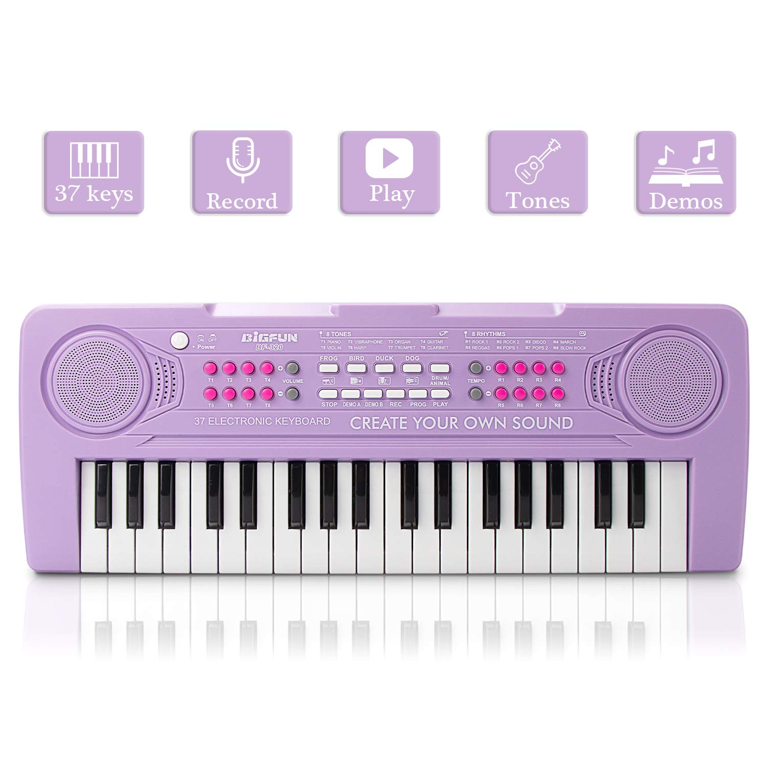 JINRUCHE Kids Piano, 37Keys Multi-Function Electronic Keyboard Piano Play Piano Organ Music Educational Toy for Toddlers Children (Purple)