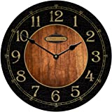 Black & Wood Wall Clock, Available in 8 sizes, Most Sizes Ship 2 - 3 days, Whisper Quiet.