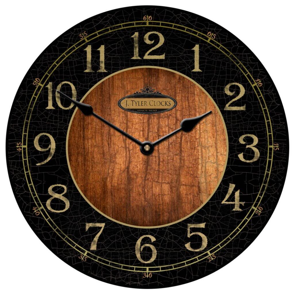 Black & Wood Wall Clock, Available in 8 sizes, Most Sizes Ship the Next Business Day, Whisper Quiet. by The Big Clock Store