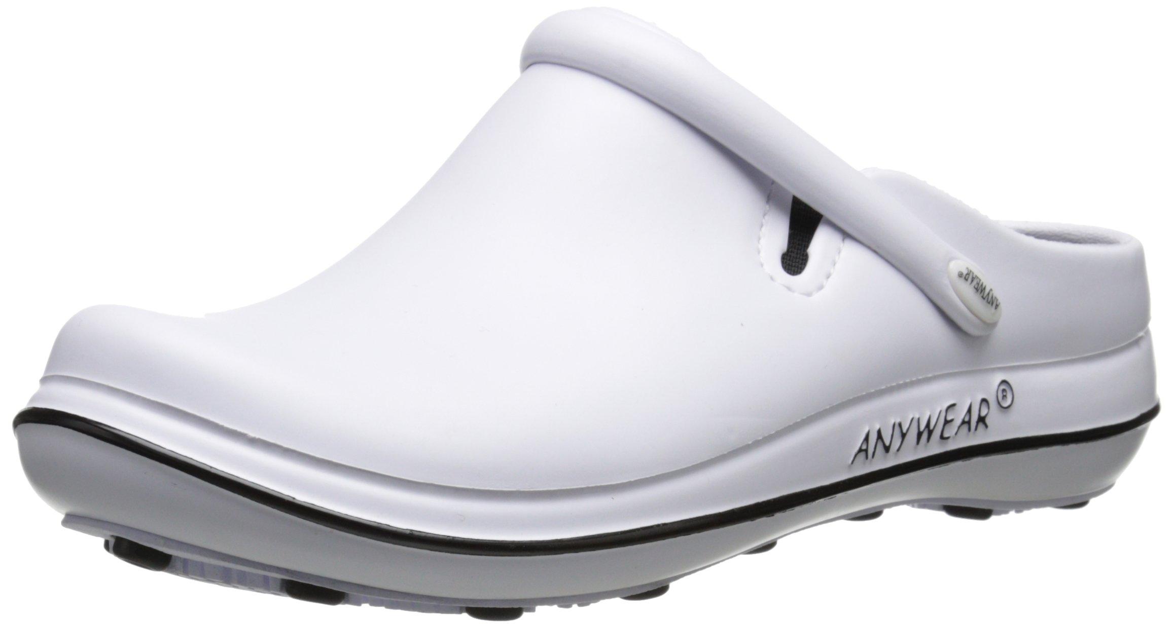 Anywear Women's Alexis Work Shoe, White/Black, 5 M US