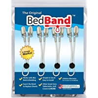 The ORIGINAL Bed Band - Adjustable Fastener/Holder/Strap/Suspender/Gripper for Your Sheets (2 Pack - White)